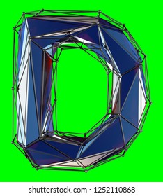 Capital latin letter D in low poly style blue color isolated on green background. 3d rendering