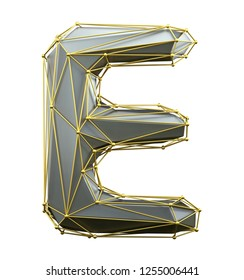 Capital latin letter E in low poly style silver and gold color isolated on white background. 3d rendering