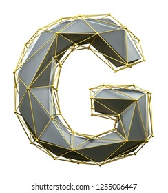 Capital latin letter G in low poly style silver and gold color isolated on white background. 3d rendering