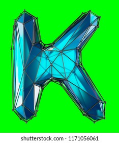 Capital latin letter K in low poly style blue color isolated on green background. 3d rendering