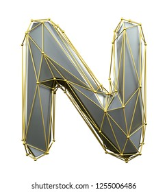 Capital latin letter N in low poly style silver and gold color isolated on white background. 3d rendering