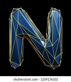 Capital latin letter N in low poly style blue and gold color isolated on black background. 3d rendering
