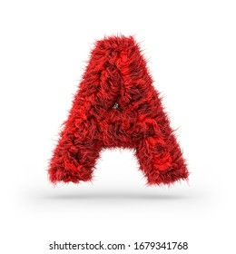 Capital letter A. Uppercase. Red fluffy and furry font. 3D