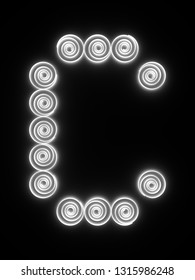 The capital letter C. Bright white symbol isolated on black background. Simple quilling, loose coil font. 3D rendering