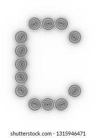 The capital letter C isolated on white background in soft light. Simple quilling, loose coil font. 3D rendering