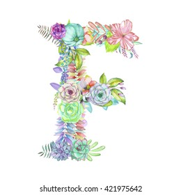 Capital letter F of watercolor flowers, isolated hand drawn on a white background, wedding design, english alphabet for the festive and wedding decor and cards