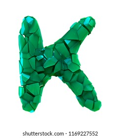 Capital letter K made of broken plastic green color isolated on white background. 3d rendering