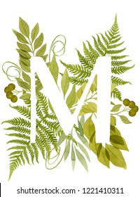 Capital letter M monogram with green watercolor fern, green leaves, eucalyptus and berries isolated on white background. Botanical illustration. Watercolor fern. Foliage monogram.