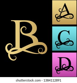 Capital Letter for Monograms and Logos. Beautiful Filigree Font. Black   letter A, B, C, D. Design modern element logotype