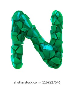 Capital letter N made of broken plastic green color isolated on white background. 3d rendering