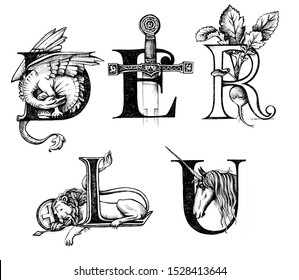 Capital vintage letters L, D, R, E, U. Lettering, logo. Old medieval style. Graphics black pen. Fantasy unicorn,  radish vegetable, dragon, sword, lion.