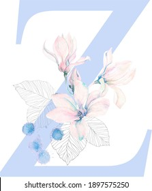 Capital Z design of the English alphabet, decorated with botanical watercolor elements (magnolia flower, bud, leaves). Illustration in Serenity colors.