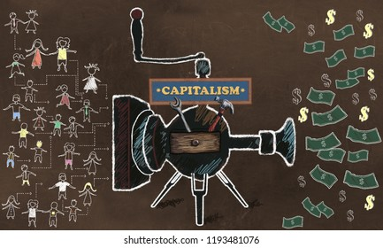 Capitalisme Concept Illustrated with old Machine turning People in to Profit on a Brown Blackboard
