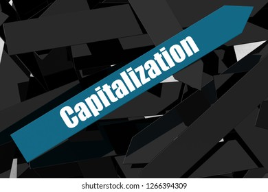 Capitalization word on the blue arrow, 3D rendering