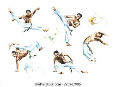 Capoeira fighters set, isolated on white background. Concept about people, lifestyle and sport. Watercolor hand drawn  illustration