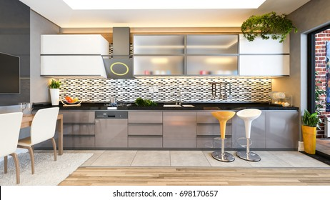 cappuccino color kitchen design black white ceramic with fresh fruit and kitchen machines 3D rendering