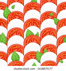 Caprese salad seamless background - mozzarella, tomato and basil leaves. Italian food illustration.