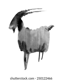 Capricorn. Zodiac sign. Ink illustration on white background.