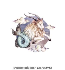 Capricorn - Zodiac Symbol. Watercolor Illustration.