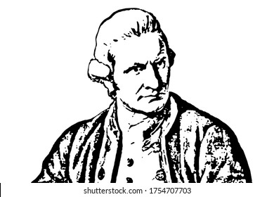 Captain Cook. James Cook, A British explorer, navigator, cartographer, and captain in the British Royal Navy. Black and white illustration.