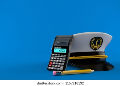 Captain's hat with calculator and pencil isolated on blue background. 3d illustration