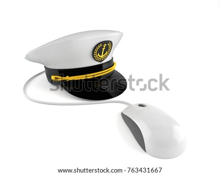 59792a42c5d82 Captain s hat with computer mouse isolated on white background. 3d  illustration