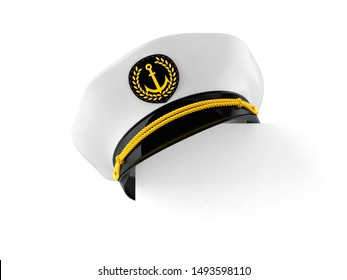 Captain's hat with copy space on white background. 3d illustration