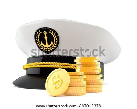 7e527211472 Captain s hat with stack of coins isolated on white background. 3d  illustration