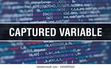 Captured variable concept illustration using code for developing programs and app. Captured variable website code with colorful tags in browser view on dark background. Captured variable on binary