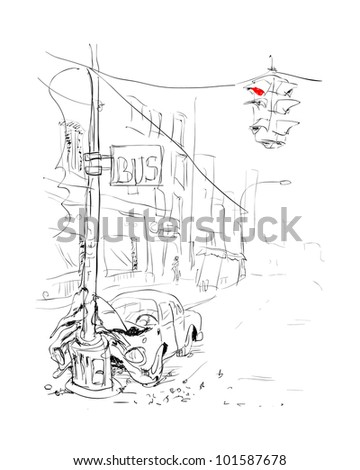 Car Accident Crash Version Stock Illustration 101587678