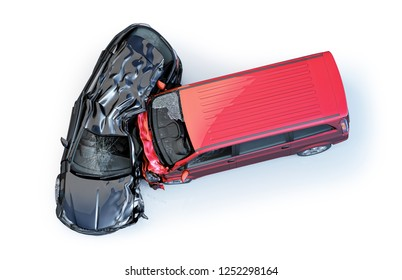 Car accident. Generic car crashed. Red van heavily  crashed against a Black  Station wagon. top view. Isolated on white background. 3D rendering.
