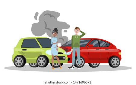 Car accident on the road. Automobile damage or auto crash. Safety on the street. Isolated flat  illustration