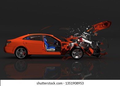 Car in accidents n a black background. 3D render