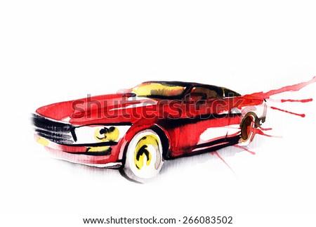 Car Art Sketch Sport Car Pencil Stock Illustration 266083502