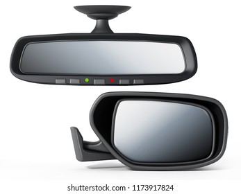 Car back and side mirror isolated on white background. 3D illustration.