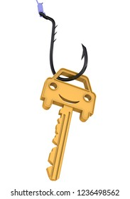 Car as the bait. Gold key with symbol of car as a bait on fishing hook. The concept of fraud when buying a car. Isolated. 3D Illustration