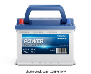 Car battery with abstract label isolated on white background. 3d rendering