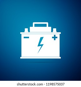 Car battery icon isolated on blue background. Accumulator battery energy power and electricity accumulator battery. Lightning bolt symbol. Flat design
