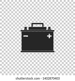 Car battery icon isolated on transparent background. Accumulator battery energy power and electricity accumulator battery. Flat design