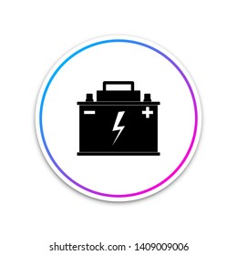 Car battery icon isolated on white background. Accumulator battery energy power and electricity accumulator battery. Lightning bolt symbol. Circle white button