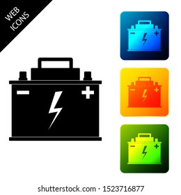 Car battery icon isolated on white background. Accumulator battery energy power and electricity accumulator battery. Lightning bolt symbol. Set icons colorful square buttons