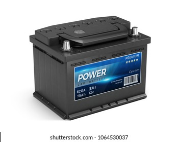 Car battery isolated on white background. 3d rendering