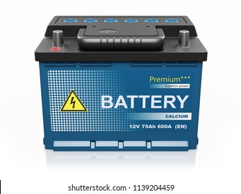 Car battery. Power supply element isolated. 3d render