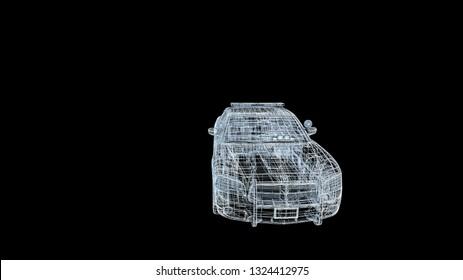 car beetle model body structure, wire model  3d rendering