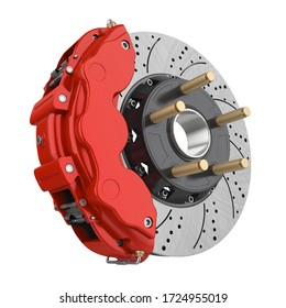 Car Brake Disc and Red Caliper Isolated. 3D rendering