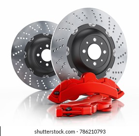 Car brake disc and red caliper isolated on white background. 3D illustration.