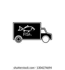 car carrying fish icon. Element of cyber security for mobile concept and web apps icon. Glyph, flat icon for website design and development, app development