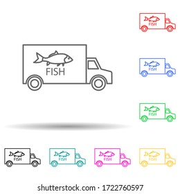 car carrying fish multi color style icon. Simple thin line, outline Illustration of fish production icons for ui and ux, website or mobile application