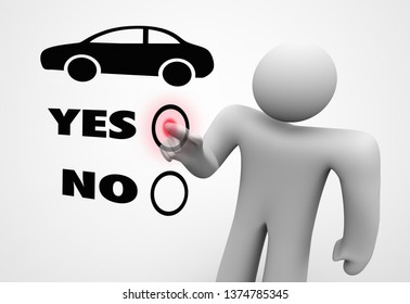 Car Choice Yes No Person Select Auto Vehicle 3d Illustration