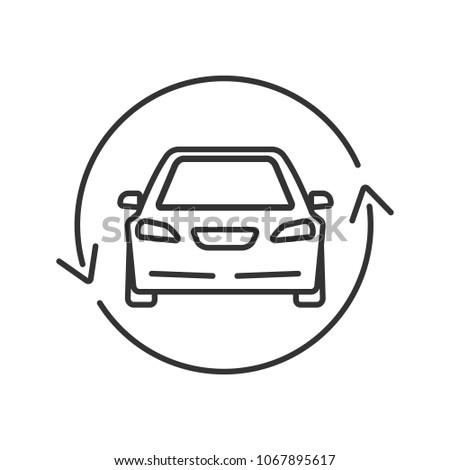 Car Circle Arrow Linear Icon Complete Stock Illustration 1067895617